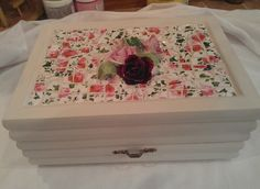 Broken China mosaic jewelry box. This started out an ugly brown with a fabric top. I love chalk paint!
