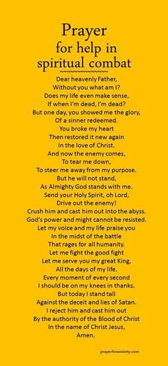 to Visiting Nigeria You are never alone. Let this prayer for spiritual combat inspire you to seek God's presence and defense. Let this prayer for spiritual combat inspire you to seek God's presence and defense. Prayer Scriptures, Bible Prayers, Faith Prayer, God Prayer, Power Of Prayer, Prayer Quotes, Bible Verses, Prayer Room, Catholic Prayers