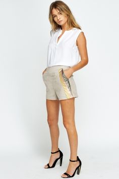 Suedette Contrast Shorts - 3 Colours - Just Fashion Shorts, Cheap Skirts, Buy Cheap, Get The Look, Contrast, Short Dresses, Colours, Summer, Model