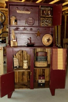 Gorgeous primitive red hutch from Stars and Stitches Primitives