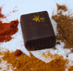 Cinnamon Turmeric Spice Vegan Organic Dark Chocolate Truffles, 2.2 oz 6-piece box