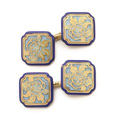 Art Deco Enamel and Gold Cufflinks. | Art Deco blue enamel and 14k gold square panel cufflinks, with incurved corners and decorated with a rose motif. By Carrington & Co., Newark. Circa 1925. | via ALVR