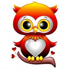 Baby Owl Love Heart Cartoon Archivio Fotografico - 17613845