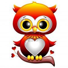 Baby Love Owl Cartoon Corazón Foto de archivo - 17613845