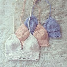 Lily, Lily and Lily! Crochet cotton croptops handmade in Auckland new zeAland Bralette Pattern, Crochet Bikini Pattern, Swimsuit Pattern, Crochet Bikini Top, Diy Crochet, Vintage Crochet, Crochet Top, Ropa Interior Boxers, Crochet Fashion