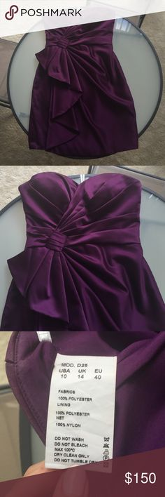 Strapless, Plum-Colored Bridesmaid Dress Beautiful dress. Vibrant plum color and not too short. I wore it as a bridesmaid one time but unfortunately it's too big for me now. Like new condition. Flexible on price. love Dresses Wedding