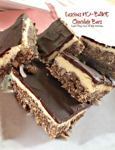 Luscious NO-BAKE Chocolate Bars | Can't Stay Out of the Kitchen