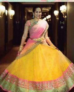 Lehenga Saree Design, Half Saree Lehenga, Lehenga Designs, Anarkali Dress, Rekha Saree, Kids Lehenga, Salwar Designs, Lehenga Blouse, Indian Lehenga