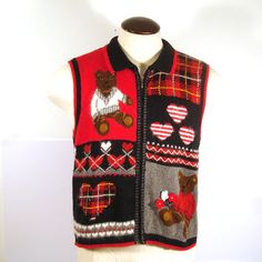 Ugly Christmas Sweater Vintage Cardigan Vest  Tacky Holiday