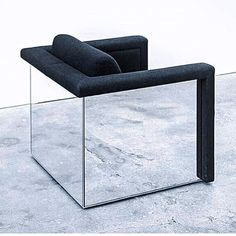 Mirrored chair from the 'Lounge Seating', series, 1988 by Robert and Trix Haussmann
