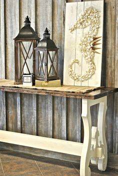lanterns on console table