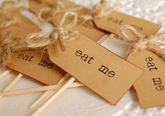 Eat Me Party Picks  parcel brown and twine by vintagetwee on Etsy, $5.50