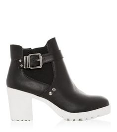 621332677060 Black Chunky Contrast Sole Buckle Chelsea Boots 40 Shoe Gallery