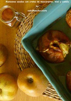 Manzanas asadas con crema de mascarpone, manzanas asadas, receta manzana y canela, receta manzana, manzana miel y datiles, recetas sin azuca...