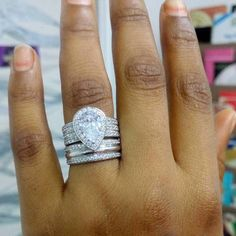 Diamond Rings White Gold Over Ladies CT Diamond Engagement Wedding Bridal Ring Set Morganite Engagement, Rose Gold Engagement Ring, Gold Diamond Wedding Band, Wedding Bands, Ring Verlobung, Bridal Rings, Unique Rings, Wedding Ring Sets Unique, Wedding Sets