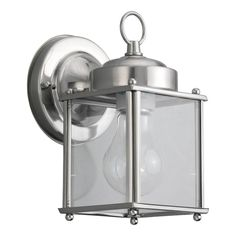 Shop Sea Gull Lighting New Castle 8.25-in H Antique Brushed Nickel Outdoor Wall Light at Lowes.com
