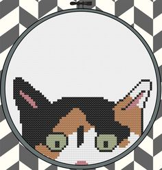 Kitty Committee green eyed calico cross stitch pattern by pdxstitchshop #cat #kitty #kitten #crossstitch #embroidery