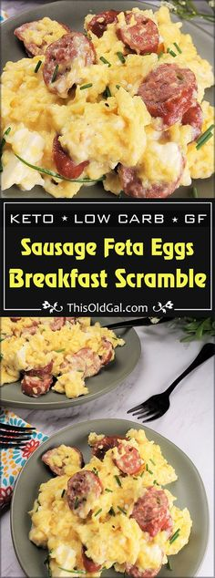 Sausage Feta Eggs Breakfast Scramble with cream cheese and chives is a perfect k. Sausage Feta Eggs Breakfast Scramble with cream cheese and chives is a perfect keto low carb breakfast skillet that will keep you full until lunch. via This Old Gal Keto Foods, Healthy Diet Recipes, Healthy Meal Prep, Keto Recipes, Easy Recipes, Lunch Recipes, Dinner Recipes, Meal Prep Low Carb, 0 Carb Foods