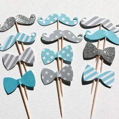 12 décorations pour gâteaux et cupcakes (cake topper), thème moustache et noeud papillon, coloris bleu turquoise et gris