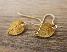 Tiny Gold Leaf Earrings / Mini Leaves in Gold by SoCoolCharms Leaf Earrings, Minimalist Jewelry, Gold Leaf, Valentine Day Gifts, Leaves, Stone, Unique Jewelry, Charms, Bead