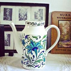 Lovely Midwinter tall coffee pot - 'Spanish Garden' design by Jessie Tait. In the Etsy shop now. Spanish Garden, Garden S, Jessie, Garden Design, Etsy Seller, Etsy Shop, Coffee, Tableware, Unique Jewelry