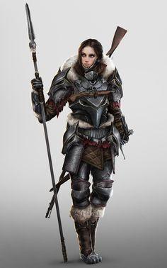Queen of Wolves (Hunter Girl), Johnson Ting on ArtStation at https://www.artstation.com/artwork/DB6OO