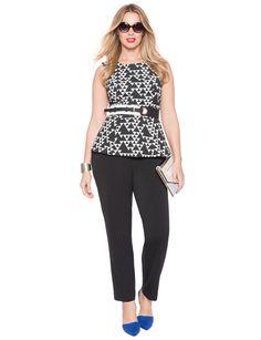 Sleeveless Jacquard Peplum Top | Women's Plus Size Tops | ELOQUII
