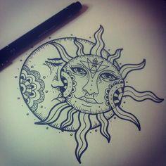 Sun drawing tattoo