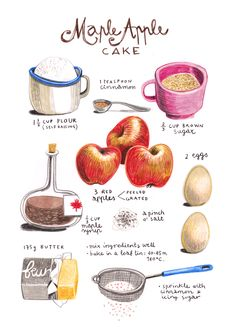 illustrated recipes: apple maple cake Art Print by Felicita Sala Maple Cake, Recipe Drawing, Masterchef, Food Journal, Food Drawing, Cake Drawing, Food Illustrations, Cake Illustration, Apple Recipes