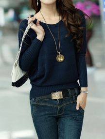 Dark Blue Ladies Solid Color Round Neck Bat Sleeve Loose Knitted Sweater