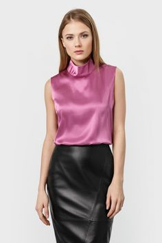 Pink satin sleeveless blouse and black leather skirt Sexy Blouse, Blouse And Skirt, Blouse Outfit, Sleeveless Blouse, Skirt Suit, Black Leather Skirts, Leather Dresses, Satin Bluse, Satin Top