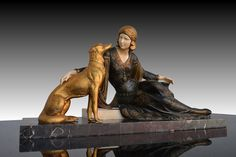 Menneville (real- Ugo Cipriani - b,1887)- Borzoi w Seated Woman (Art Deco Ivoreen Sculpture), II