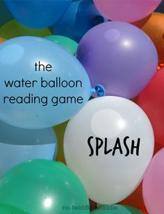 The Water Balloon Reading Game: Brilliant way to encourage reading and learning new vocab Sight Word Games, Sight Word Activities, Summer Activities, Learning Time, Kids Learning, Reading Games, Water Balloons, Educational Activities, School