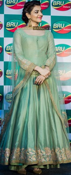Pinterest: @Littlehub || คdamant love on Anarkali's ✿。。ღ || Kajal in Mint Green anarkali