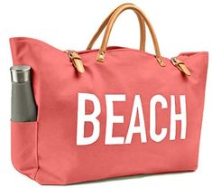 KEHO Large Canvas Beach Bag Travel Tote, Waterproof Lining, 2 Drink Holders, Pockets, FREE Phone Case - Travel - Source by stacey_koetje Large Beach Bags, Beach Tote Bags, Best Beach Bag, Summer Bags, Summer Fun, Large Canvas, Travel Tote, Luxury Bags, Phone Case