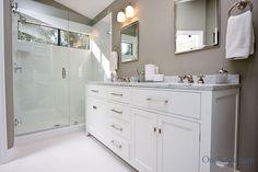 Three-Quarter Traditional Gray & White Bathroom Remodel