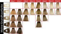 Farbtabelle Goldwell Elumen Haarfarbe.  Das Ergebnis ist immer abhängig von der eigenen Haarfarbe, in der Tabelle finden sie die richtige Farbe. Power Colors, Light Colors, Elumen Hair Color, Blond, Hair Beauty, Abs, Inspiration, Colour, Google Search