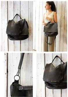 "Handmade Italian Vintage Brown Leather Bag ""TOBACCO BAG 5"" di LaSellerieLimited su Etsy"