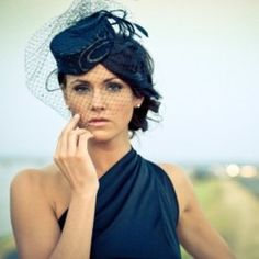 navy pillbox hat with veil