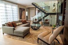Pratt Designs :: Cherry Creek #interiordesign #livingroom #contemporarydesign #masculine #bachelorpad #denver #colorado #glassstairway