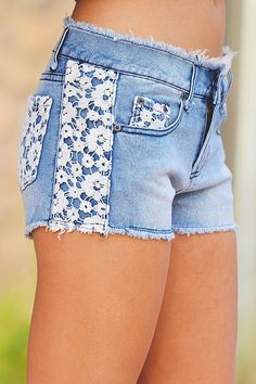 Fallen From Lace Denim Shorts from Closet Candy Boutique Fashion Wear, Denim Fashion, Mom Outfits, Cute Outfits, Lace Denim Shorts, Denim Crafts, Jeans For Short Women, Girl Bottoms, Embellished Jeans