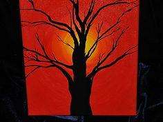 Мастер класс. Рисуем закат и силуэт дерева. | Ярмарка Мастеров - ручная работа…