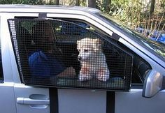 Doggie Cages for Car Doors ~ Strange New Products. Great if you have to leave your dog in the car for a short time