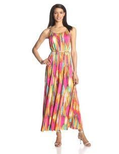 Tiana B Women's Sleeveless Printed Belted Maxi Dress, Multi, Medium FREE Shipping! - http://margoclothing.pesonashop.com/tiana-b-womens-sleeveless-printed-belted-maxi-dress-multi-medium-free-shipping