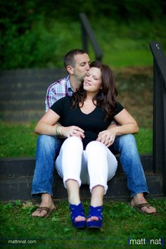 Lancaster county park engagement photos, blue heels---I like this pose.