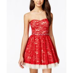B Darlin Juniors' Strapless Glitter Lace Party Dress ($99) ❤ liked on Polyvore featuring dresses, lace dress, cocktail party dress, party dresses, red party dresses and fit and flare dress