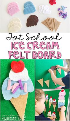 This felt board is perfect for an ice cream theme in tot school, preschool, or the kindergarten classroom.