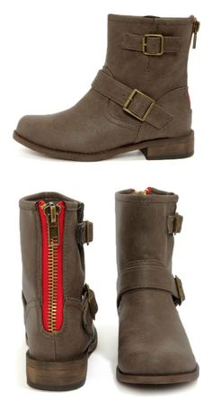 Taupe Buckled Mid-Calf Boots