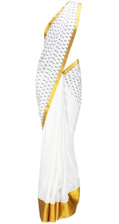 White Saree with Gold border by MASABA. Shop at