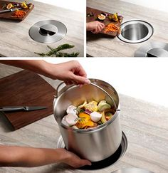 Out of sight kitchen compost bin! Super cool! Honey, do we own a saws all??